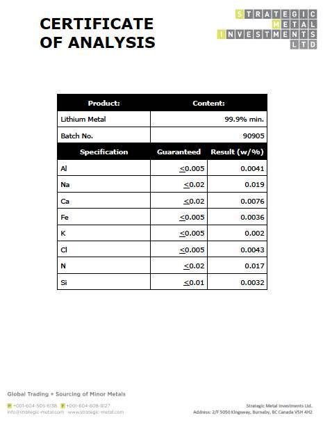 lithium metal pellets